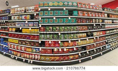 Alameda CA - October 16 2017: Grocery store shelf with boxes of instant K cup coffee's in various brands. Sales of the single-serve cups more than tripled in the United States between 2011 and 2013.