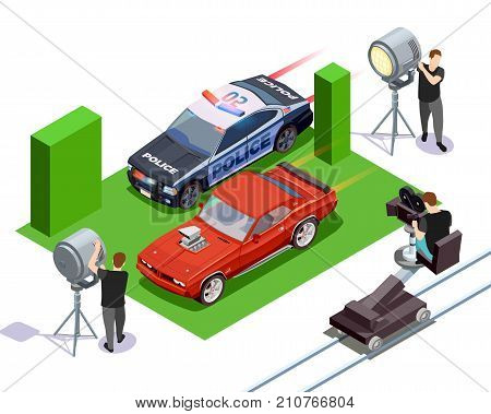 Cinematograph isometric composition with operators shooting red automobile and police car 3d vector illustration