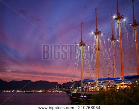Marmaris, Turkey: 20 Oct 2017, Night Scenery Of The Ocean And Boat