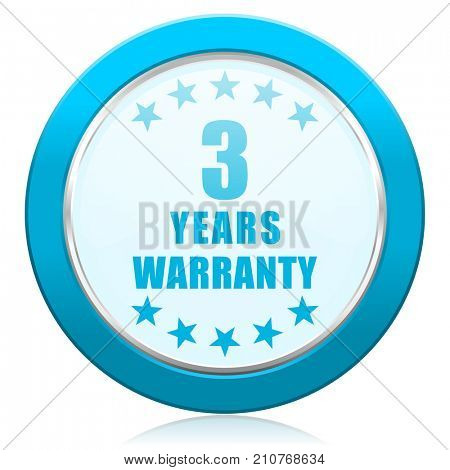 Warranty guarantee 3 year blue chrome silver metallic border web icon. Round button for internet and mobile phone application designers.