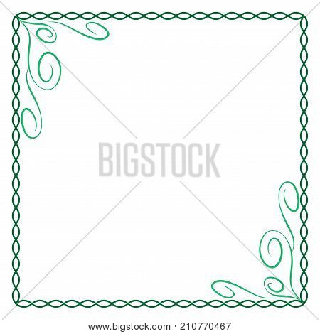 Frame green. Color framework isolated on white background. Decoration chain concept. Modern art scoreboard. Border from ovals and curves. Decoration banner rim. Stock vector illustration