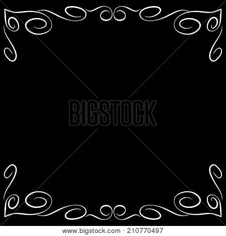 Frame white. Decoration banner rim. Monochrome framework isolated on black background. Modern art scoreboard. Border from curls and curves. Decoration concept. Stock vector illustration