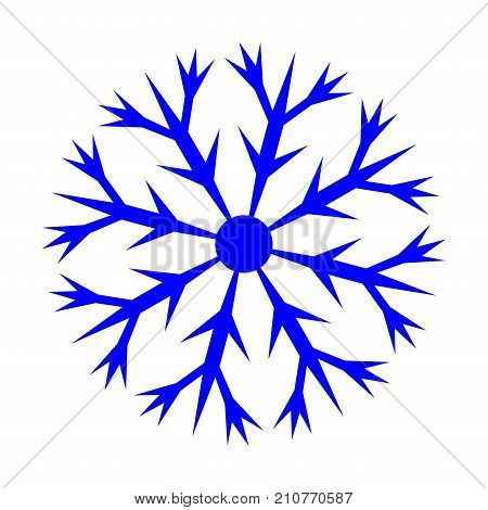Snowflake sign. Logo for christmas or frozen celebration.Winter design. Image of snow season. Blue ice icon isolated on white background. Cold ornament symbol. Stock vector illustration