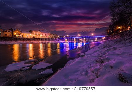 Gorgeous Evening Cityscape Of Old Town In Winter