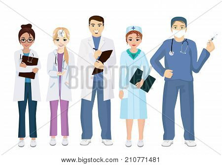 Vector illustration of team doctors on a white background in flat style. Woman and man doctors