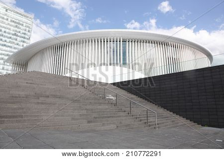 Kirchberg, Luxembourg - July 22, 2017: The Luxembourg Philharmonic is a concert hall located on the Kirchberg plateau in the City of Luxembourg
