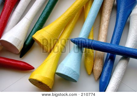 closeup of colorful wooden golf tees poster