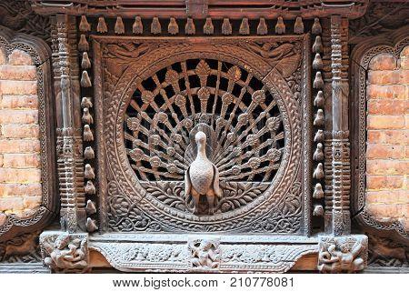 Peacock windows in the city of Bhaktapur