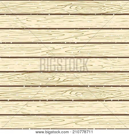 Seamless wood planks pattern. Tree bark texture vector snowy background. Light colored planks parquet ornament flooring.
