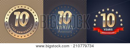 10 years anniversary vector icon logo set. Graphic design element with golden 3D numbers for 10th anniversary decoration