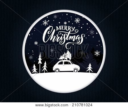 Papercut Christmas card with vintage car carring a spruce on the top. Merry Christmas text on night scene