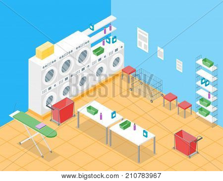 Laundry Room Concept Interior with Furniture Isometric View Housework Service Washing Room Design. Vector illustration of Housekeeping Element