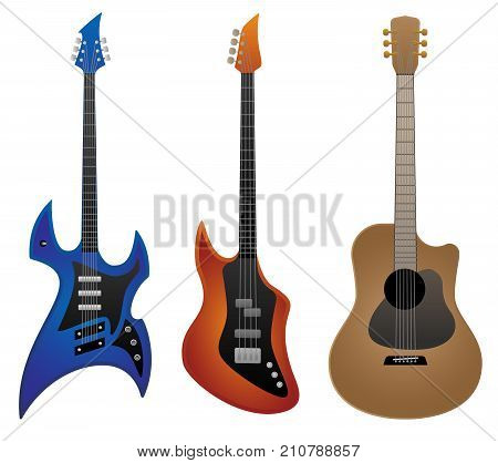 Electric rock guitar, classic style bass guitar and acoustic guitar vector illustrations in full color