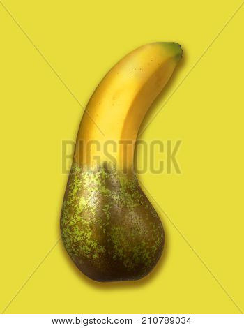 SURREAL MONTAGE OF BANANA AND PEAR ON YELLOW BACKGROUND