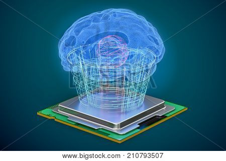 Artificial intelligence computer technology concept. Human brain with cpu processor artificial intelligence concept. 3D rendering