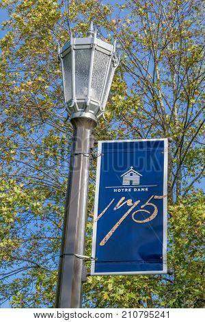 Notre Dame Banner On The Campus Of Notre Dame University