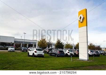 Prague, Czech Republic - October 25: Renault Company Logo On Dealership Building On October 25, 2017