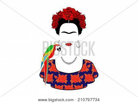 Frida Kahlo and parrot vector portrait , young beautiful mexican woman with a traditional hairstyle. Mexican crafts earrings and red flowers, Traditional Mexican dress, Vector isolated