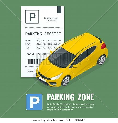 Cars in the parking lot and Parking tickets. Public car-park. Flat illustration for web. Urban transport. Large number of cars in a crowded parking