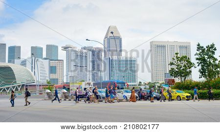 People Crossing The Road. Singapore