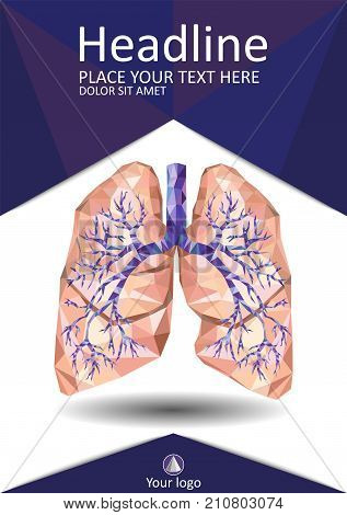 Realistic human lungs with trachea bronchus bronchi carina in low poly. Vector. Human organ. Cover design. Best for Portfolio Flyer Banner Website Brochure Annual Report Magazine Poster.