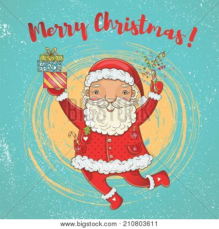 Vector cute christmas card with funny happy bouncing Santa Claus. Hand-drawn color bright Christmas template for design. Merry Christmas!