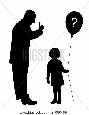 Father scolds. Child does not understand and holds balloon with question mark.