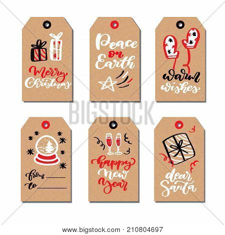 Christmas modern gift tags set with hand drawn doodles and lettering. Vector hand drawn illustration set. Cartoon drawing of gift box, snowglobe, poinsettia for xmas holiday greetings Calligraphy text