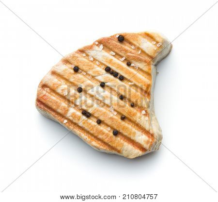 Grilled tuna steak isolated on white background.