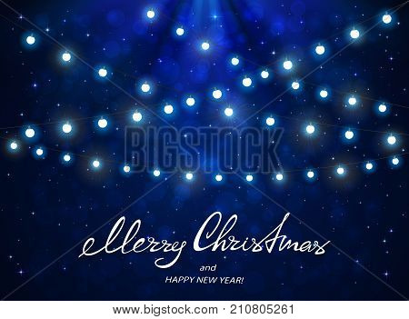 Text Merry Christmas and Happy New Year with white Christmas lights. Holiday decorations on blue background with stars, illustration.