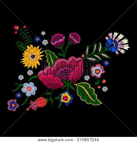 Embroidery native pattern with simplify flowers. Vector embroidered traditional floral  design for fashion wearing.