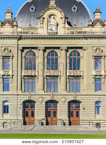 Bern, Switzerland - 2 November, 2014: entrance to the building of the University of Bern. The University of Bern is a university in the city of Bern, founded in 1834.