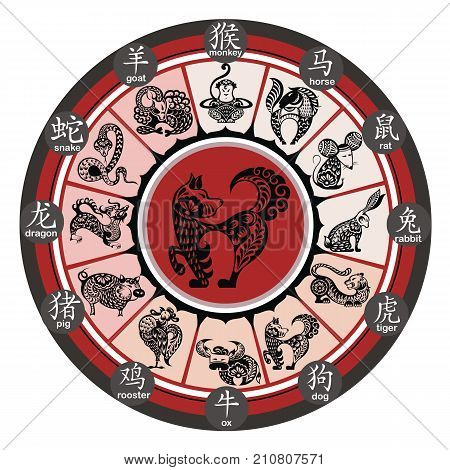 Chinese zodiac wheel with signs.  Zodiac  symbols