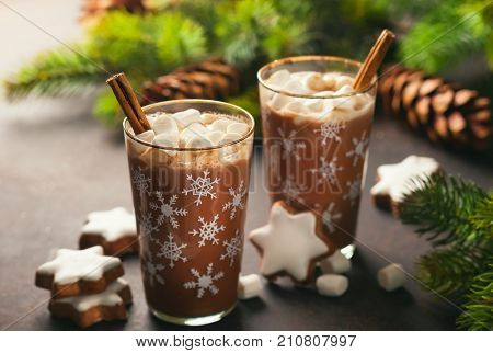 Hot chocolate with marshmallows and cinnamon in glass cups for Christmas