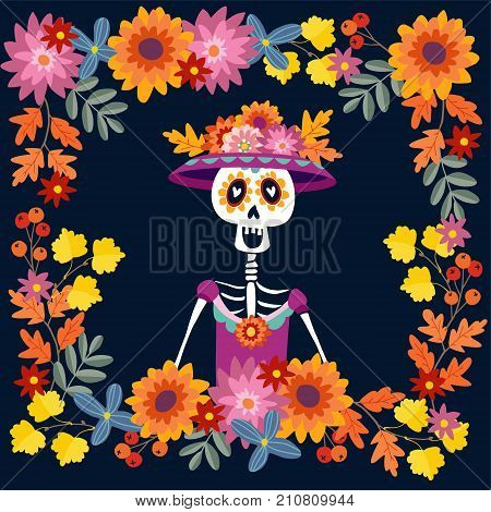 Dia de Los Muertos greeting card, invitation. Mexican Day of the Dead. Floral frame made of mums flowers, autumn leaves. Flowers. Ornamental skull, calavera catrina, vector illustration background.