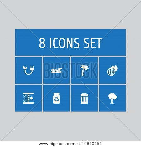 Collection Of Wood, Tree, Garbage Bag And Other Elements.  Set Of 8 Atmosphere Icons Set.