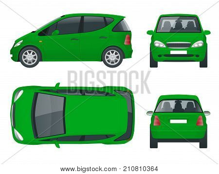 Small Green Compact Electric vehicle or hybrid car. Eco-friendly hi-tech auto. Easy color change. Template vector isolated on white View front, rear, side, top