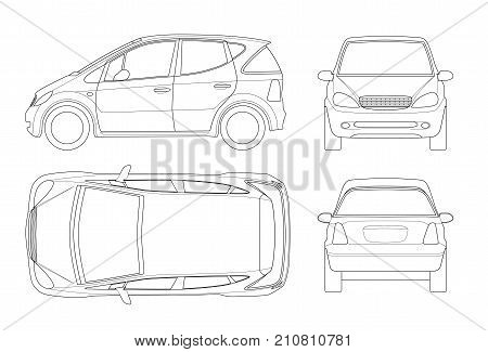 Small Compact Electric vehicle or hybrid car on outline. Eco-friendly hi-tech auto. Template vector isolated. View front, rear, side, top. Easy to change the thickness of the lines