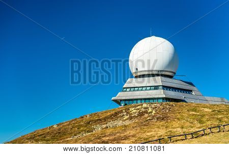 Air traffic control radar station on top of the Grand Ballon. The highest mountain in the Vosges - Alsace, France