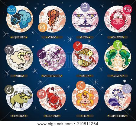 Set illustration with cartoon zodiac signs. Zodiac signs for your design