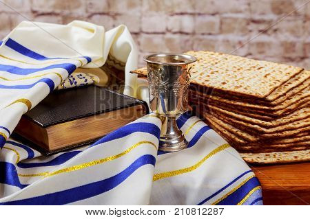Pesah Celebration Concept Jewish Passover Holiday . Traditional Book With Text In Hebrew: Passover H
