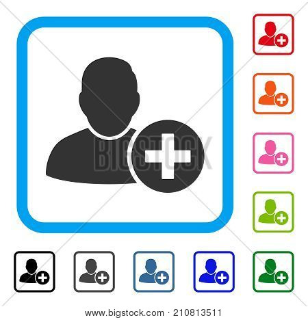 Add User icon. Flat grey pictogram symbol inside a light blue rounded squared frame. Black, gray, green, blue, red, orange color variants of Add User vector.