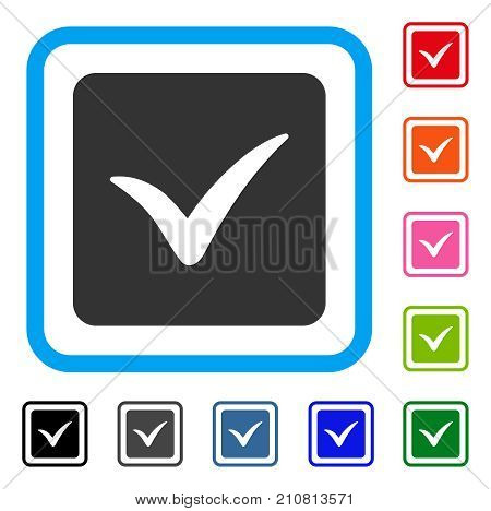 Approve Box icon. Flat grey iconic symbol in a light blue rounded frame. Black, gray, green, blue, red, orange color variants of Approve Box vector. Designed for web and app user interface.