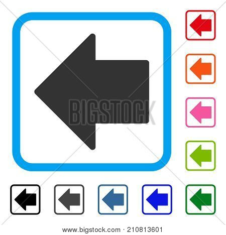 Arrow Left icon. Flat grey pictogram symbol in a light blue rounded squared frame. Black, gray, green, blue, red, orange color variants of Arrow Left vector. Designed for web and app user interface.
