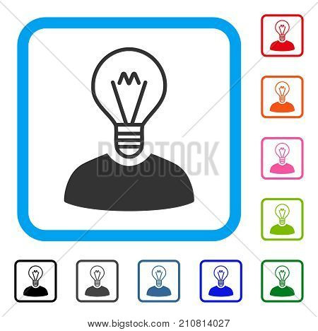 Bulb Inventor icon. Flat gray pictogram symbol inside a light blue rounded square. Black, gray, green, blue, red, orange color versions of Bulb Inventor vector.