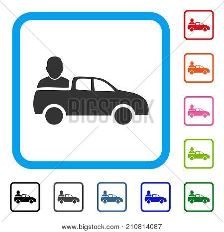 Car Passenger icon. Flat gray iconic symbol inside a light blue rounded frame. Black, gray, green, blue, red, orange color variants of Car Passenger vector. Designed for web and app user interface.