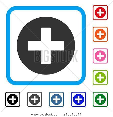Create icon. Flat gray pictogram symbol inside a light blue rounded squared frame. Black, gray, green, blue, red, orange color versions of Create vector. Designed for web and application interfaces.