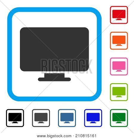Desktop icon. Flat gray iconic symbol in a light blue rounded rectangular frame. Black, gray, green, blue, red, orange color versions of Desktop vector. Designed for web and app user interface.