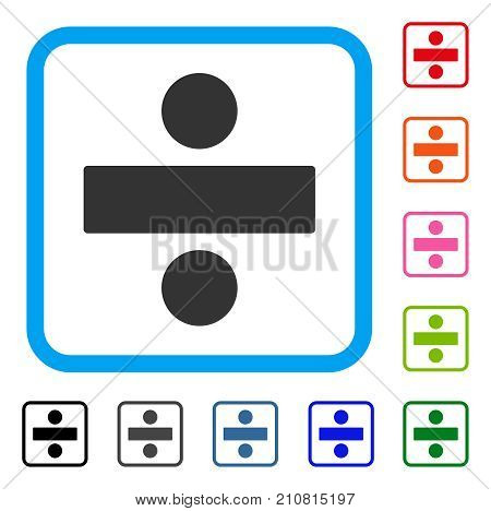 Divide Math Operation icon. Flat grey iconic symbol in a light blue rounded square. Black, gray, green, blue, red, orange color variants of Divide Math Operation vector.