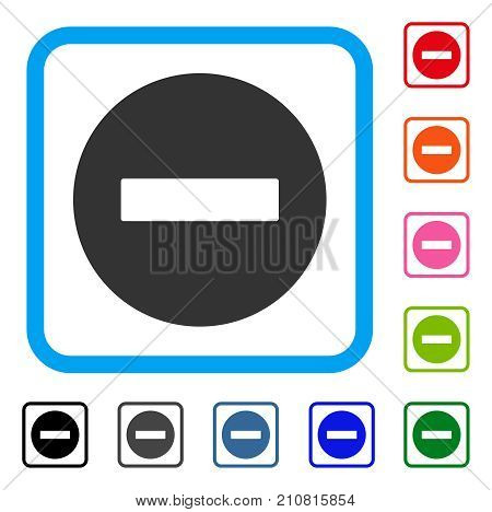 Forbidden icon. Flat grey pictogram symbol in a light blue rounded squared frame. Black, gray, green, blue, red, orange color additional versions of Forbidden vector.